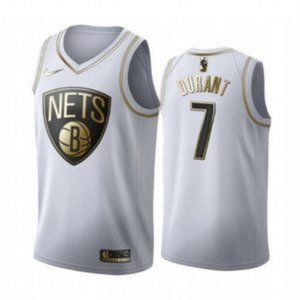Brooklyn Nets Kevin Durant White Gold #7 Jersey